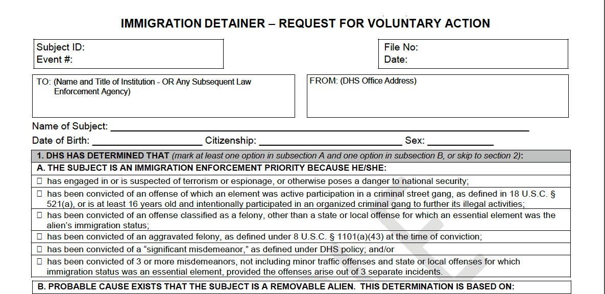 Change in ICE Detainers and Holds at Local Jails